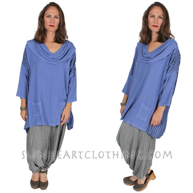 Dairi Fashions Cowl Stripe Top Moroccan Cotton Boho Sml-6x Custom Dye $110