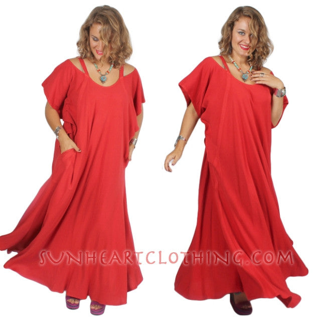 Farfala Cold Shoulder Dress Moroccan Cotton Sml-7X Custom Dye $155