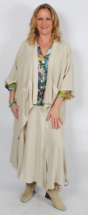 Haja Lagenlook Jacket Moroccan Cotton Sml-6X Custom Dye $115