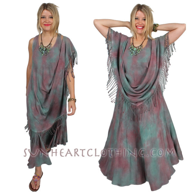 Jasmina Magic Dress Tank Fringe Moroccan Cotton Sml-2X Custom Dye $155