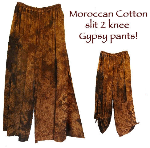 Slit-2-Knee Gypsy Pants Moroccan Cotton Plus Sml-2x Custom Dye $95