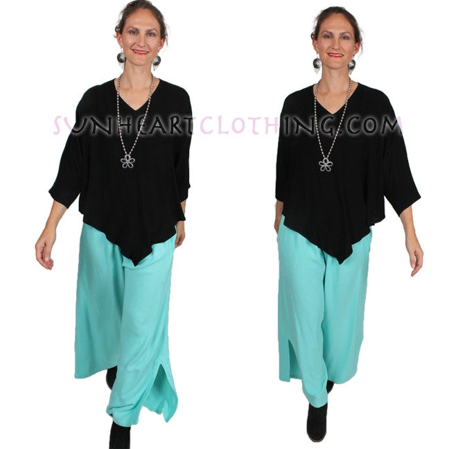 Dairi Fashions Slit-Hem Pants Moroccan Cotton Sml-2x