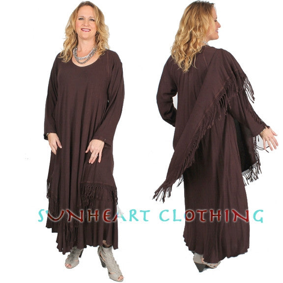 Sultana Magic Dress Long-Slv Fringe Plus Moroccan Cotton Sml-4X Custom Dye $175