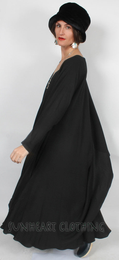 Tangiers long-sleeve Magic Dress 2 Layers Moroccan Cotton Sml-4X Plus Custom Dye $175