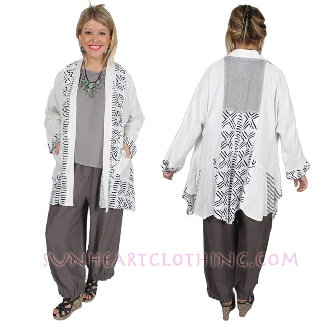 Tangiers Lagenlook Jacket Plus Moroccan Cotton Plus Sml-3x Custom Dye $145