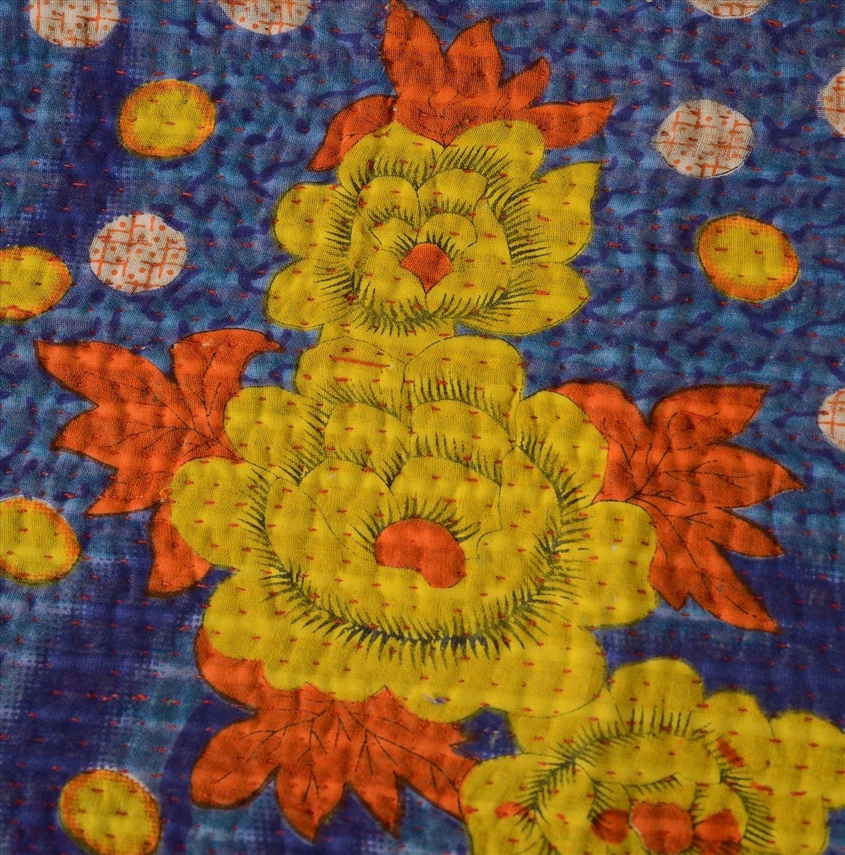 Embroidered Yellow Flower Dot Blanket Home Decore