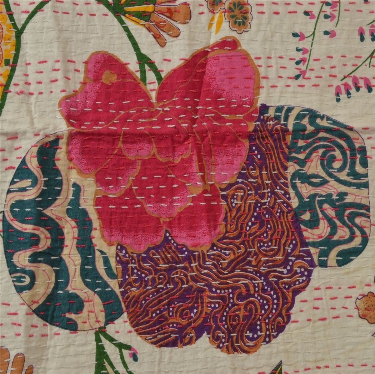 Embroidered Pink Flower Leaf Blanket
