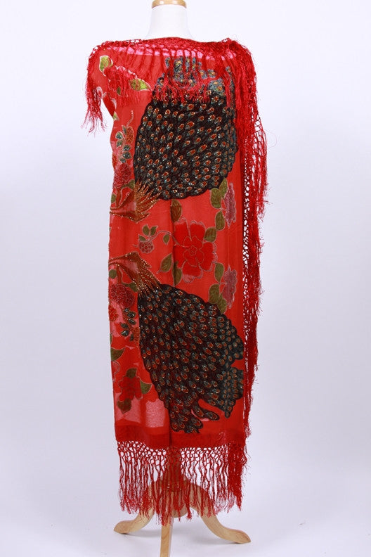 Burnout Red Silk Velvet Embroidered Scarf Beaded Fringe Glam