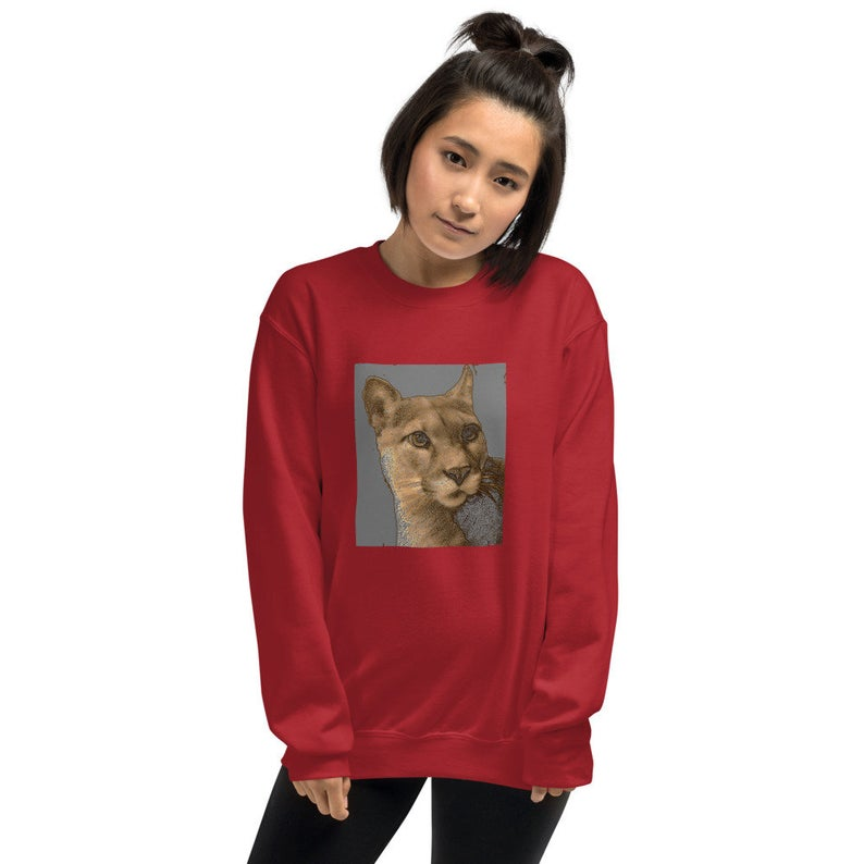 Sunheart Cougar Power Animal long-slv Pullover Small to Plus Sizes Sml-5X