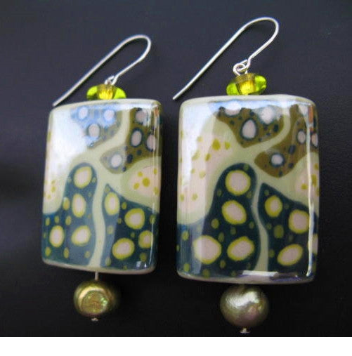 Artisian Art Nouveau Ceramic Beads Earrings Hand-Made Jewelry