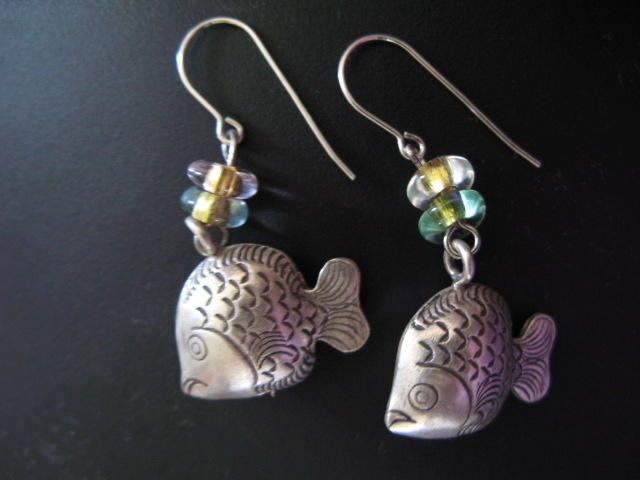 Artisian Silver Fish Bell Beads Earrings Hand-Made Jewelry