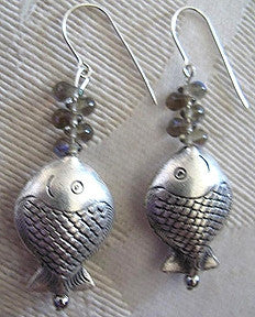 Artisian Silver Fish Beads Earrings Hand-Made Jewelry