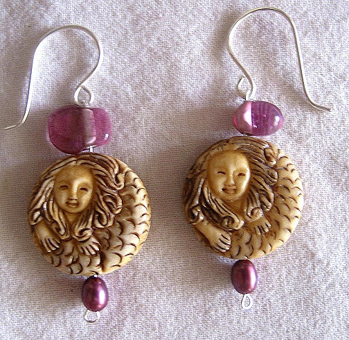 Carved Mermaid Netsuke Artisian Beads Earrings Hand-Made Jewelry