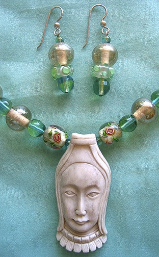 Artisian Antique Glass Lampwork Carved Goddess Necklace Hand-Made