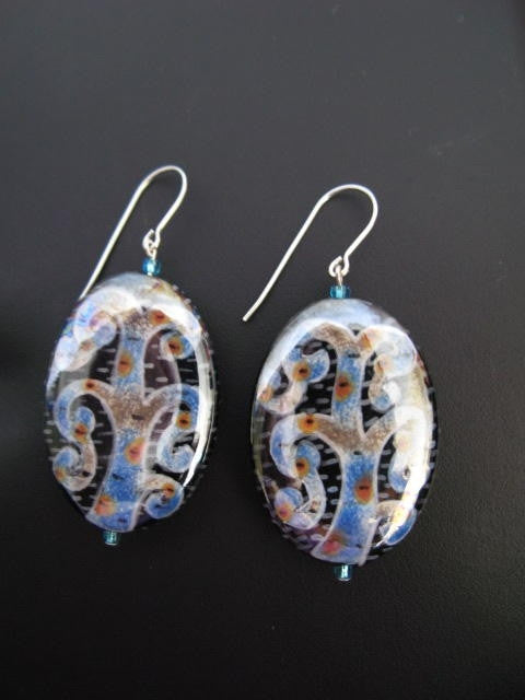 Artisian Tree of Life Ceramic Beads Earrings Hand-Made Jewelry