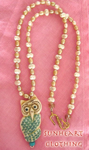 Artisian Owl Fresh Water Pearls Ox Bone Scrimshaw Netsuke Necklace