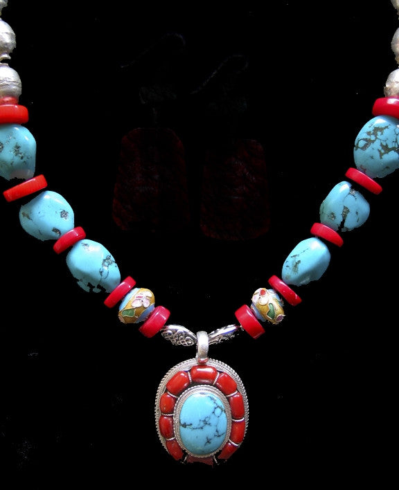 Tibetan Turquoise Silver Coral Necklace Artisian hand made