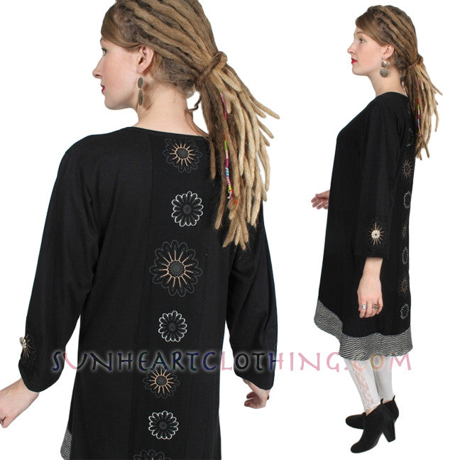 Leopards & Roses Button Dress Boho Embroidered Sml-2X