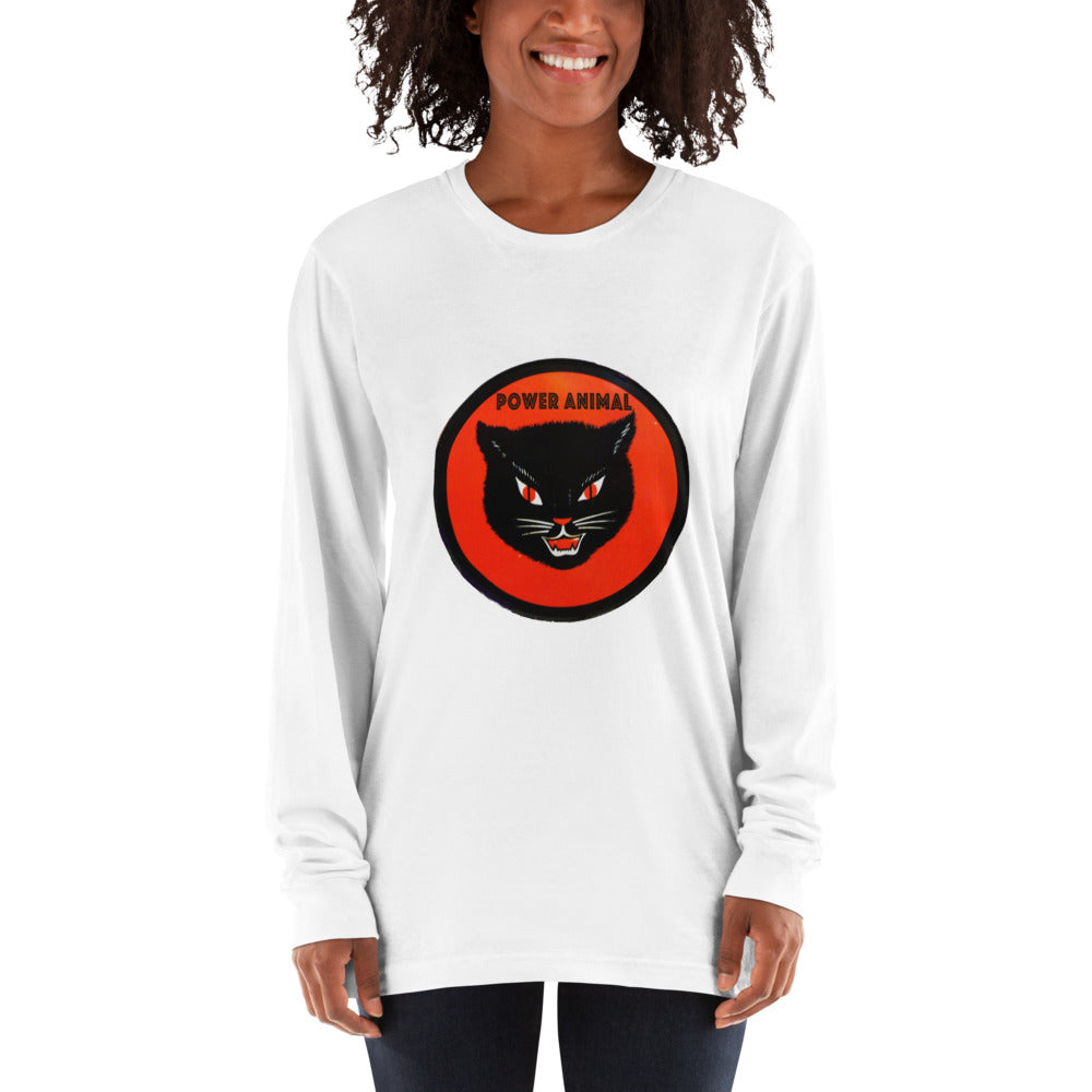 Sunheart Cotton Long-Sleeve Black Cat Tee Shirt Power Animal Shaman Gal xl-2x