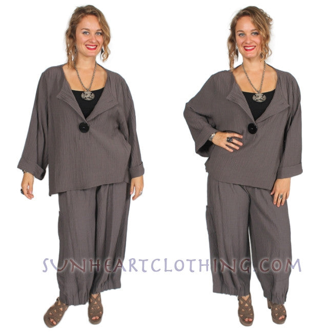 Moonlight Taupe Crepe Button Front Top Sml-1x