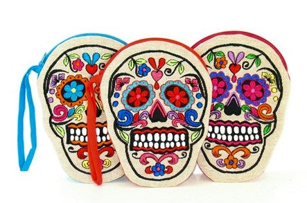 EMBROIDERED SKULL COIN PURSE