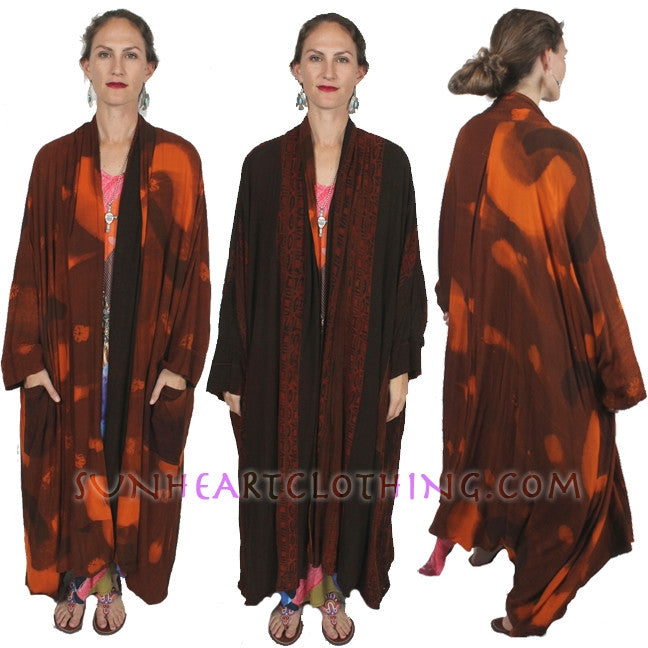 Sunheart Heroine Batik Duster Coat Reversible Resort Wear Boho Plus Sml-8X