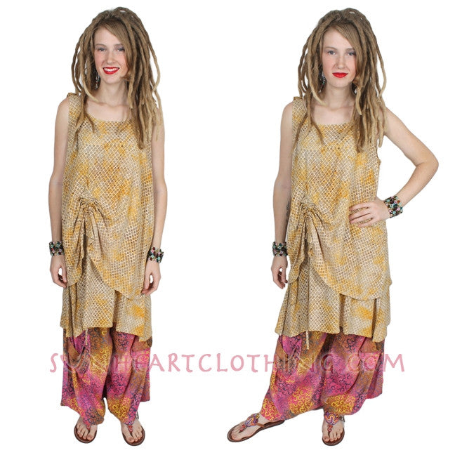 SunHeart 2-Layer Ruched Tank Top or Dress Batik  Resort Wear
