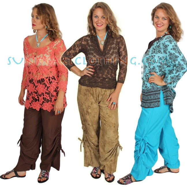 SunHeart Ruched 2 Layer Pant Boho Hippie Chic Sml-XL  Brown Olive