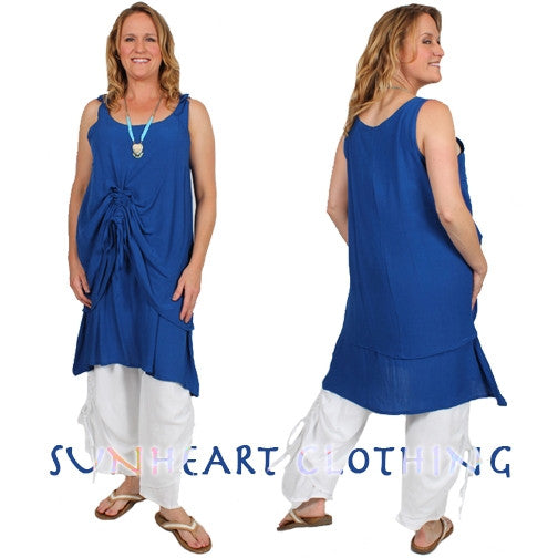SunHeart 2-Layer Ruched Tank Top or Dress Resort Wear Sml-1x