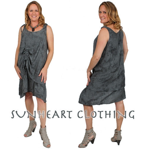 SunHeart 2-Layer Ruched Tank Top or Dress Resort Wear Sml-2x