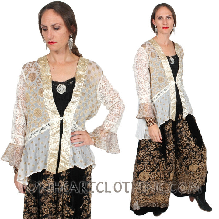 SunHeart Lace Gold Jacket Holiday Evening Wear  Sml-2x