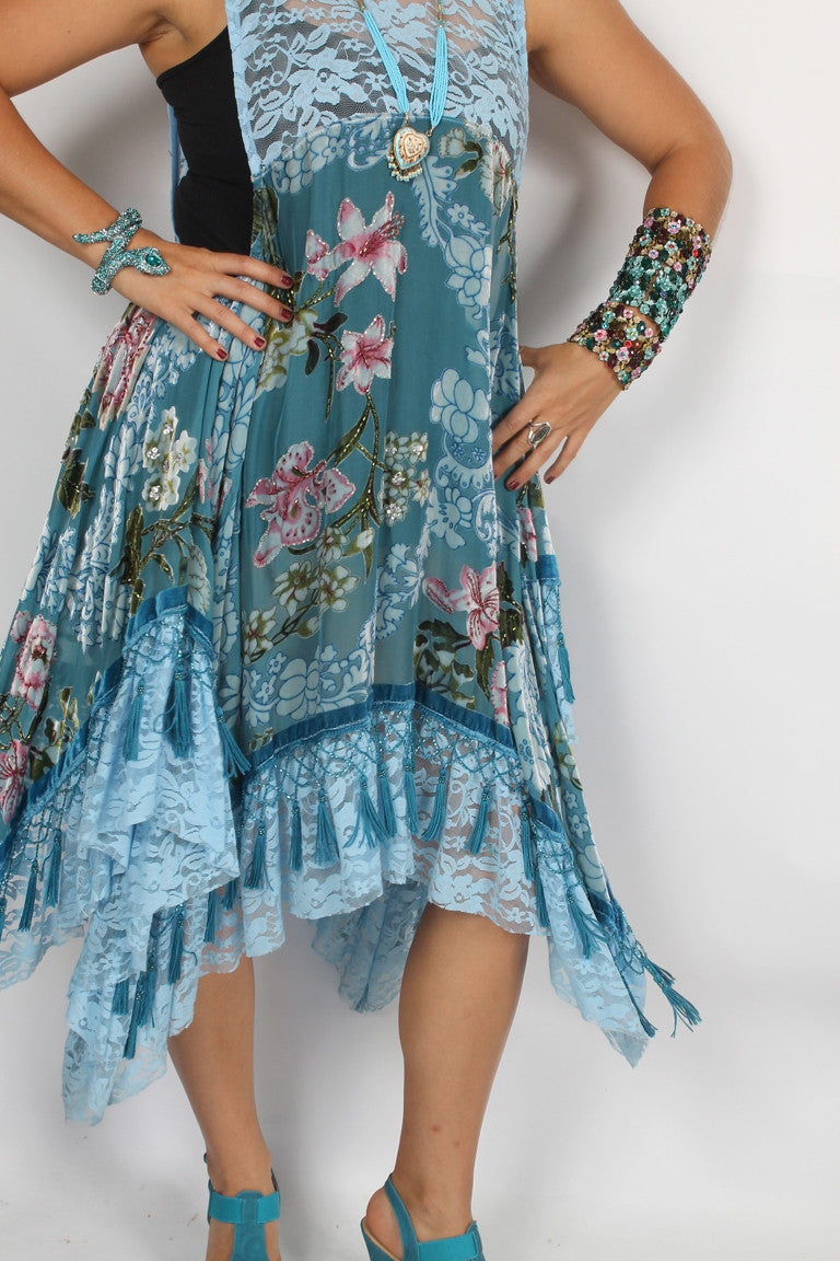 SunHeart Blue Roses Silk Velvet Tassel Dress Sml-3x