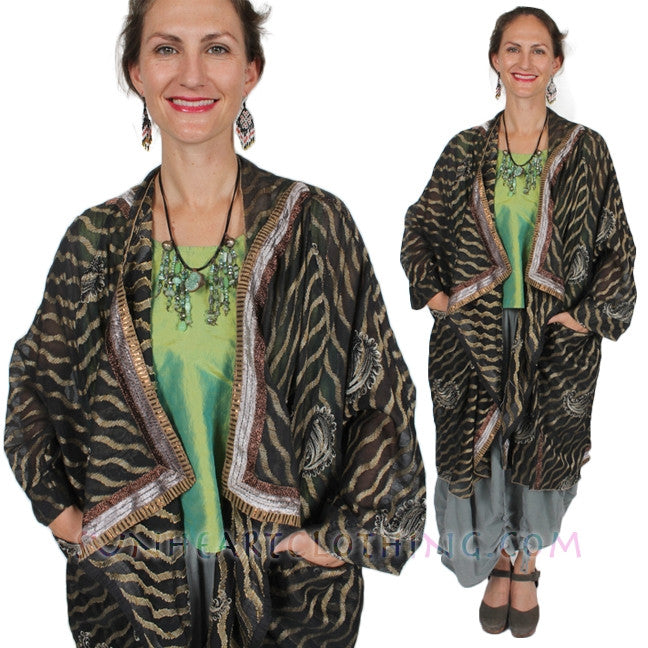 Sunheart Cachet Coat Vintage Silk Embroidered Cachet Coat Sml-7X