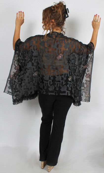 Sunheart Black Silk Caftan Poncho Top Embroidered Beaded Sml-5x