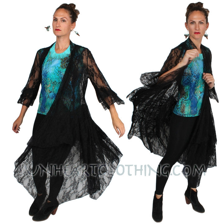 Sunheart Stevie Nicks Inspired Lace Peplam Jacket steam punk Sml-2x