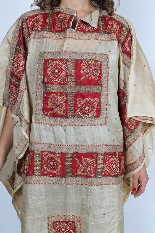 SunHeart Vintage Silk Embroidered Caftan Jeweled Poncho Tunic Top Sml-7x