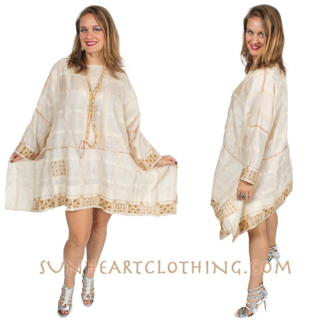SunHeart Vintage Silk Embroidered Ivory Boho Tunic Top Sml-4x