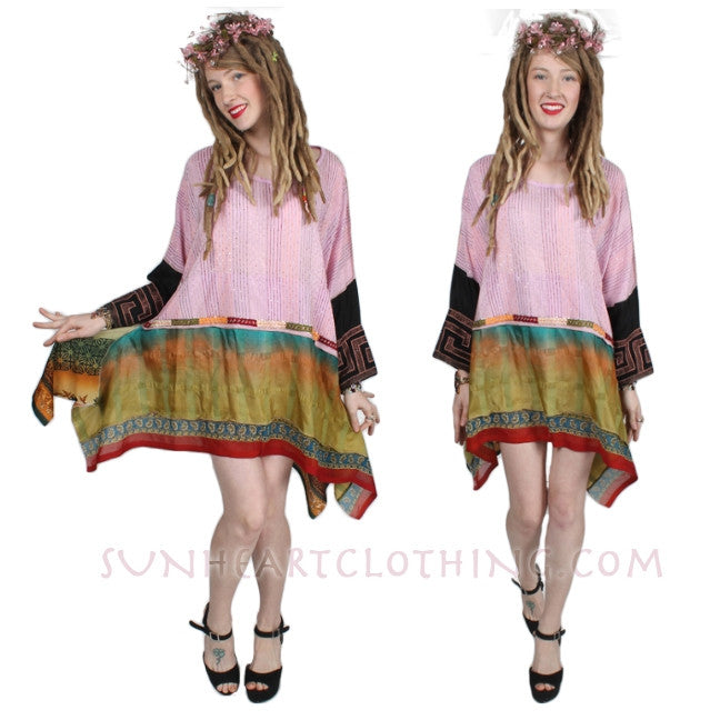 Sunheart Vintage Silk Bohemian Tunic Top Embroidered