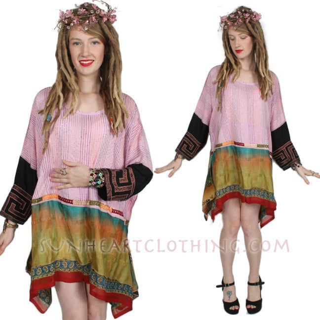 Sunheart Vintage Silk Bohemian Tunic Top Embroidered Sml-3x
