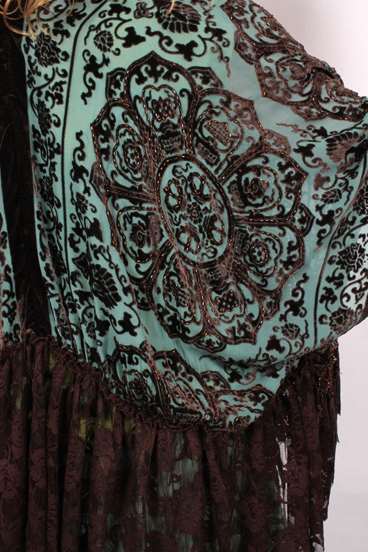 Sunheart Silk Velvet Mandala and Lace Jacket Sml-8x