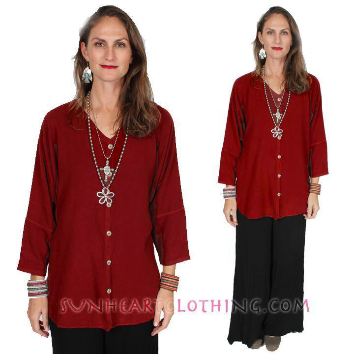 Tienda ho hi-low Tiznite Lotus Tunic-Jacket Moroccan Cotton Sml-2x