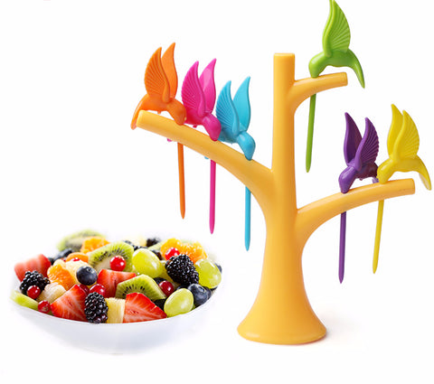 Birds Tree Shape Fruits Fork