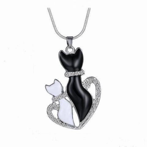 Cats In A Heart Necklace