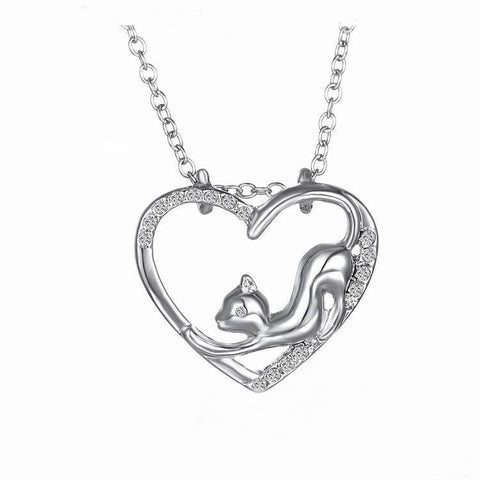 Silver Cat In Heart Necklace
