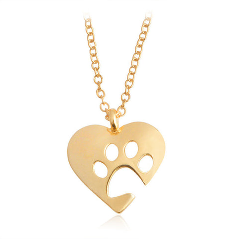 Heart Necklace with Paw Print