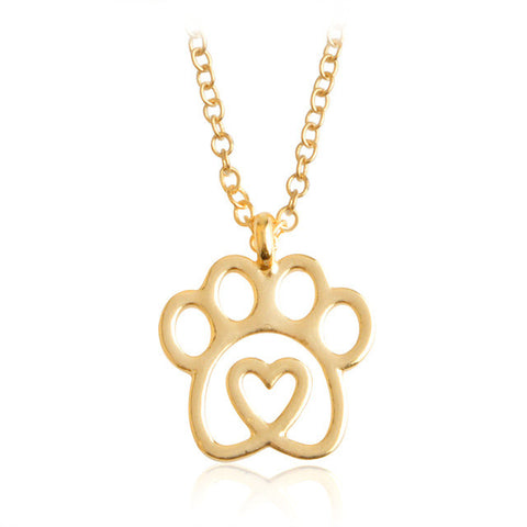Hollow Dog Paw Necklace