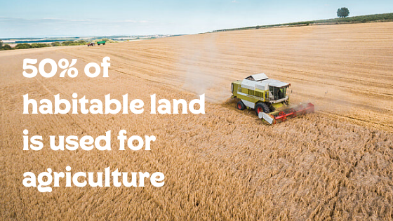 50% of habitable land is used for agriculture