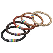 Pride Rainbow Magnetic Genuine Braided Leather Bracelets