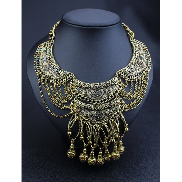 Bohemian Antique Gold Tassel Necklace