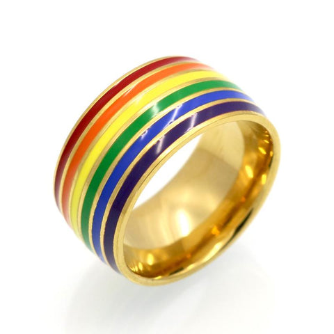 Pride Rainbow Titanium Gold Ring